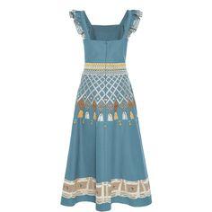 Temperley London     Poppy Field Dress ($1,695) ❤ liked on Polyvore featuring dresses, blue a line dress, poppy print dress, blue dress, poppy dress and a line dress