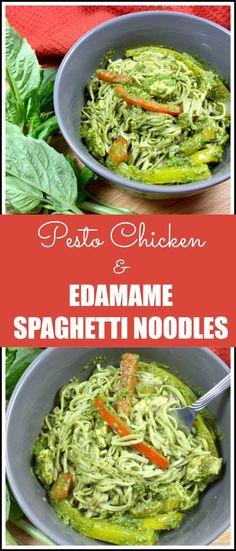 Pesto Chicken and Edamame Spaghetti Noodles paleo dinner pesto Chicken Pasta Recipes, Pesto Chicken, Spaghetti Recipes, Edamame Noodles, Edamame Pasta, Edamame Spaghetti, Spaghetti Noodles, Healthy Noodle Recipes, Paleo Dinner
