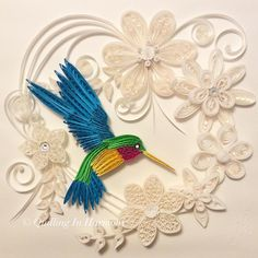 """Title: """"HUMMINGBIRD SERENITY"""" 12"""" x 12"""" (30cm x 30cm) Quilling, hand crafted…"""
