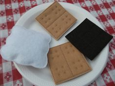 Felt Food 4 Piece Smores Snack Felt Play by KidsKitchenKreations Like at Uncle Mike's Fire Pit!