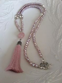 Pearl Necklace Pink Pearl Necklace Silk thread necklace