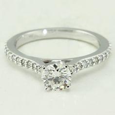 Petite Cathedral Pavé Diamond Engagement Ring