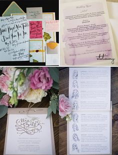 Colorful Wedding Invites: Oh So Beautiful Paper  Watercolor menu: 100 Layer Cake  Fun Monogram and Illustrated Wedding Party: Harwell Photography Blog