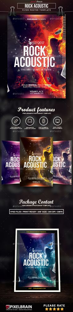 Rock Acoustic Music Flyer Template — Photoshop PSD #concert #abstract