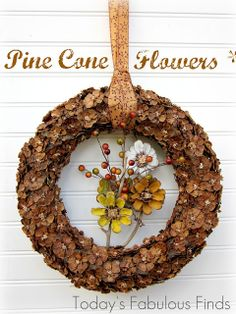Today's Fabulous Finds: Fall {Pine Cone Flower} Wreath Tutorial maybe spray painted white and silver. Pine Cone Crafts, Wreath Crafts, Diy Wreath, Wreath Ideas, Fall Wreaths, Christmas Wreaths, Christmas Crafts, Door Wreaths, Fall Flowers