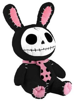 Furry Bones Black Skull Bunny Plush
