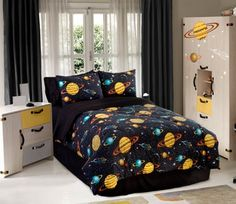 The sky is the limit with this twin-size comforter set of glow in the dark outer space bedding! Click above to buy the set for a planet-themed kid's room. Full Size Comforter Sets, Kids Comforter Sets, Kids Comforters, Bed Sets, Bedding Sets, Teen Bedding, Bedspreads, Bedroom Themes, Bedroom Decor