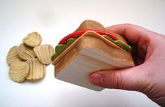 Cheese sandwhich with lettuce, tomato and potato chips wooden play food. $20.00, via Etsy.