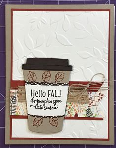 September 2017 Card Buffet Stampin' Up! Merry Cafe, Coffee Cups framelits, layered leaves 3D embossing Cardstock: crumb cake, Cajun craze, early espresso, very vanilla, painted autumn designer series paper Ink: early espresso, Cajun craze Accessories: burlap ribbon, linen thread, banner triple punch