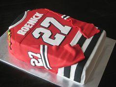 Hockey Jersey Cake << Very cool idea. for samantha Lacrosse Cake, Hockey Cakes, Hockey Birthday Parties, Hockey Party, Hockey Birthday Cake, Baseball Party, 30th Birthday, Fondant Cakes, Cupcake Cakes