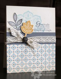 Love the texture and vintage look! Gratitude Card by Crafty Girl Designs
