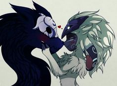 Kindred (gift) by hikariviny League Of Legends Characters, Lol League Of Legends, Fantasy Creatures, Mythical Creatures, Fantasy Character Design, Character Art, Lambs And Wolves, League Of Angels, League Memes