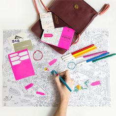 OMY Pocket Map - Coloring pocket map to color the places you have visited in the city and a place at the back to write down your sentiments.