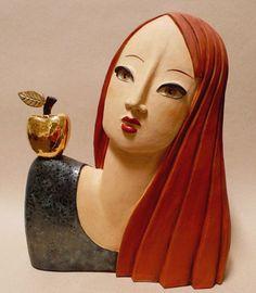 Wilhelms Tochter - Keramik Kunst Skulptur von Margit Hohenberger