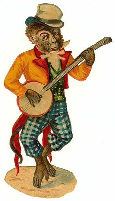Another monkey playing banjo Circus Crafts, Steampunk Octopus, Victorian Books, Circus Theme, Circus Room, Die Cut, Chimpanzee, Penny Black, Funny Animal Pictures