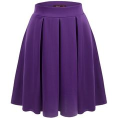 Doublju Womens Casual Comfy Elastic Wide Band Pleated Midi Skirt at... ($14) ❤ liked on Polyvore featuring skirts, purple skirt, pleated midi skirt, knee length pleated skirt, pleated skirt and midi skirt