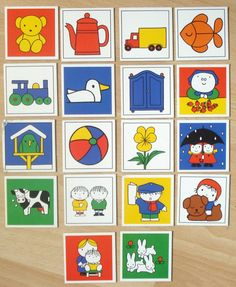 Vintage memory Nijntje, Dick Bruna, karton, spelonderdelen, hobbymateriaal, 6 x 6 cm, 18 stuks  [c] by LabelsAndMore on Etsy