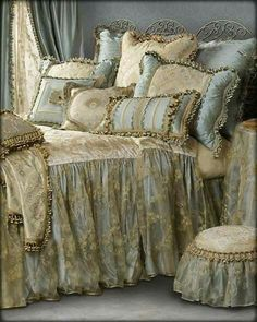 """Stunning ensemble in shades of blue with a dreamy overlay on the bedspread drop! Lots of lush tassel fringe! Queen Bedspread available in or drop!""""Crystal Palace"""" Custom Bedding By Sweet Dreams! Shabby Chic Bedrooms, Shabby Chic Furniture, Shabby Chic Decor, Bedroom Vintage, French Country Bedding, French Country Bedrooms, French Bedding, Country French, French Style"""