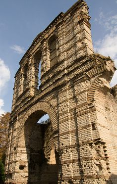The ruins of Palais Gallien, the second century Roman amphitheatre in Bordeaux, France