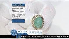 Turquoise Cabochon Oval & Diamond 14k Yellow Gold Ring.  Tune into the most exquisite jewelry on television 24/7! New jewelry arriving daily – Blue Sapphire Necklaces, Red Ruby Rings, Green Emerald Earrings, Yellow Diamond Bracelets and more stunning jewelry at Gem Shopping Network. Call in for pricing.   Item #127-270720 Blue Sapphire Necklace, Emerald Green Earrings, Beverly Hills Shopping, Ruby Rings, Oval Diamond, Coral Turquoise, Diamond Bracelets, Yellow Gold Rings, Gemstone Colors