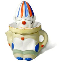 ♮✿ Vintage Clown Reamer Juicer - Yellow Circus Clown Mime, Hand Painted F... http://etsy.me/2jZfR0v