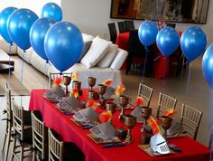 Brave Knight Inspired Party for Boys | Table Decor - decoarte with our helmets and some golden plates