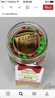 Money in the middle of a jar of candy!