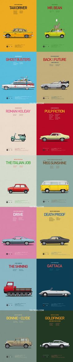 """Famous Cars In Movies"" illustrated poster by ccc (via 9gag 2013-08)"