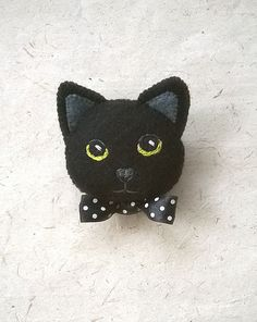 Black Kitty Cat Felt Brooch Hand Embroidered Pin by Whimsylandia