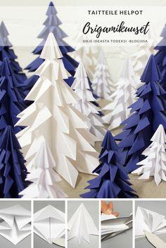 Taittele neliönmallisista papereista nopeasti joukko talvisia origamikuusia. #origami #origamikuusi #origamitree #joulu #jouluaskartelu #joulukoristeet #koristeideat #askartelu #lastenkanssa #christmas #craft #kids #easy #diy Origami Christmas Tree, Christmas Paper Crafts, Christmas Ornaments, Paper Crafts Origami, Diy Origami, Origami Turkey, Fun Crafts, Crafts For Kids, Fabric Tree