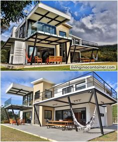 Construction model requires less material and work time, but requires careful maintenance. Shipping Container Cabin, Sea Container Homes, Shipping Container Home Designs, Building A Container Home, Container Buildings, Container Architecture, Container House Plans, Container House Design, Modern House Plans