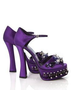Prada Jeweled Satin d'Orsay Shoes