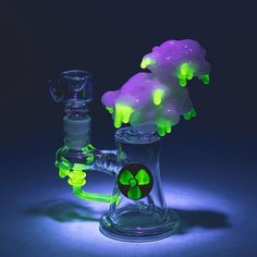 "Empire Glassworks 6"" ""Radioactive Cloud"" Mini Rig w/  Illuminati Glass"