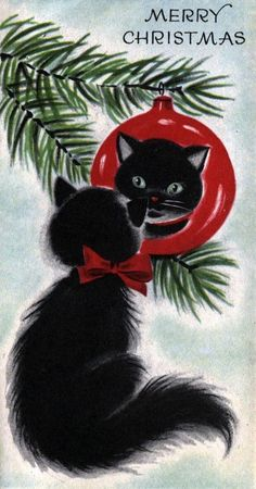 vintage weihnachten 16 Vintage Christmas Cards With Kittens That Will Get You Into The Holiday Spirit Cat Christmas Cards, Old Christmas, Retro Christmas, Xmas Cards, Christmas Greetings, Holiday Cards, Christmas Holidays, Christmas Decorations, Animated Christmas Cards