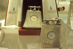 Two Desk fancy shape table watch Unique Dunhill lighters in solid silver