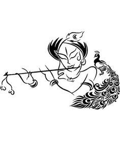 Krishna Tattoo, Krishna Drawing, Krishna Painting, Krishna Art, Radhe Krishna, Lord Krishna, Simple Wall Paintings, Diy Wall Painting, Fabric Painting