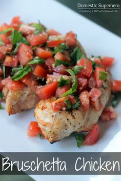Skinny Bruschetta Grilled Chicken - perfect for using fresh summer basil and tomatoes!