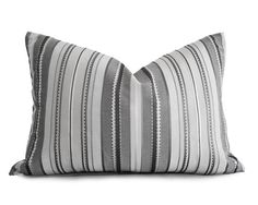 Silver Grey Lumbar Pillow Covers Grey Striped by PillowThrowDecor