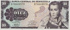 Pieza bbcv10bs-ga01-b8 (Anverso). Billete del Banco Central de Venezuela. 10 Bolívares. Diseño G, Tipo A. Fecha Octubre 06 1981. Serie B8