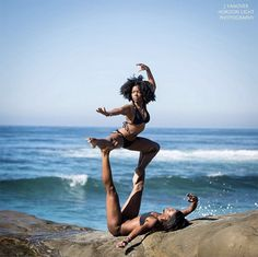 It's acroyoga, ninja-style. These ladies beat the heat with their gravity-defying moves by the sea.
