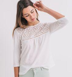 bc5dbab0ce025 T-shirt avec dentelle Femme ecru - Promod T Shirt, Shoulder, Clothes For