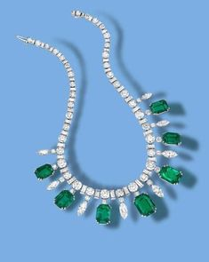 A fine 50.75 carats Colombian emerald and 37.55 carats diamond necklace, circa 1950.