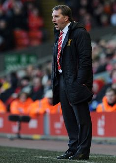 Brendan Rodgers on the Anfield touchline today. Must be pleased with a 5-0 win against his former club. #LFC