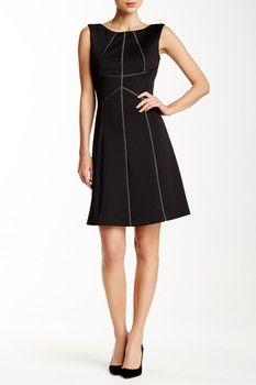 Modern American Designer Scuba Seamed Fit & Flare Dress