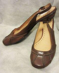 GIANNI BINI Brown Leather Sculptured Low Heel Slingback Round Toe Pumps Flats 6 #GianniBini #Slingbacks #Flats #LowHeel #Pumps