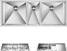 LOTTARE 600117 Stainless Steel Triple Bowl Kitchen Sink