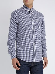 Classic Gingham Check Long Sleeve Shirt | Blue Depths | Ben Sherman