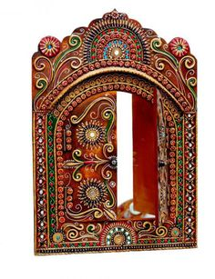 Beautiful Indian wall hanging called Jharokhas from Rajasthan, India only at… Clay Wall Art, Mural Wall Art, Clay Art, Rajasthani Art, Kalamkari Painting, Art N Craft, Craft Work, Marble Art, Mirror Art