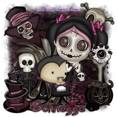 "Using only a Scrap Kit called ""LilMissDead"" by ""Schnegge's Scraps""  You can find the tutorial at ... http://lynxtuts.blogspot.com/2014/10/lil-miss-dead.html"