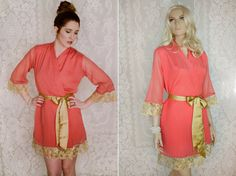 One custom elegant lace trimmed chiffon robe. Bridal lace robe. Coral melon  robe. Bridal lingerie. Long bridal robe. on Etsy 3c1a42548